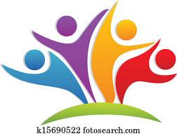 gemeinschaftsarbeit, glücklich, partner, logo