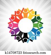 glücklich, kinder, spielen, in, kreis, halten, hands-, einfache, vektor, graphic., dieser, abbildung, büchse, auch, darstellen, angestellter, diversity,, gesch?ftsführung, oder, personal, meeting,, vereint, collaborative, workers,, usw