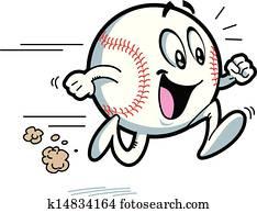 glücklich, laufende, baseball