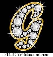 gold framed alphabet letter g