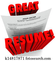 Great Resume 3D Red Words Successful Application
