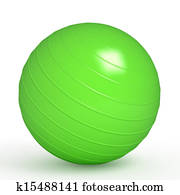 Green fitness ball isolated on white
