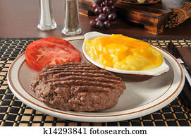 Grilled groud sirloin with au gratin potatoes