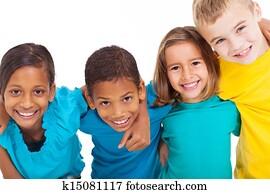 group of multiracial kids