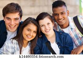 group of teen high school students