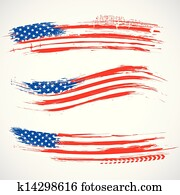 grungy, amerikaflagge, spruchbaender
