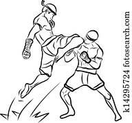 hand drawn Thai martial arts and mu