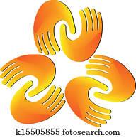 Hands teamwork helping logo