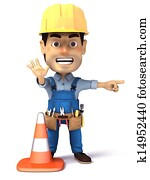 handyman looking and work cone