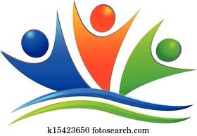 Happy swooshes teamwork people logo