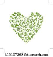 Healthy food background, heart shape sketch for your design