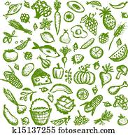 Healthy food background, sketch for your design