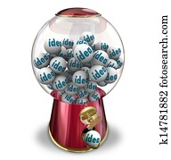 Ideas Gumball Machine Many Thoughts Imagination Creativity