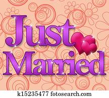 Just Married - Peach Purple