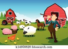 landwirt, und, traktor, in, a, bauernhof, mit, bauernhoftiere, und, scheune