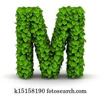 Leaves font letter M