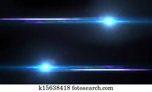 Lens Flares crossing Sea Blue bottom