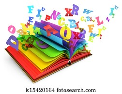 Letters flying out of an open book. Magic book