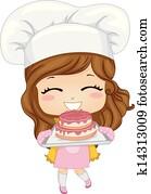 Little Girl Baking Cake