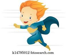 Little Kid Boy Superhero Running Fast