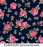 little painted roses on navy