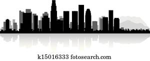 Los Angeles city skyline silhouette