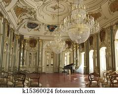 Majestic large decorated piano concert hall.