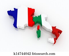 Map of France and Italy.