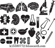 medizinische, symbol, satz