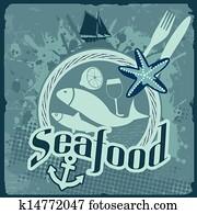 meeresfrüchte, altmodisch, plakat
