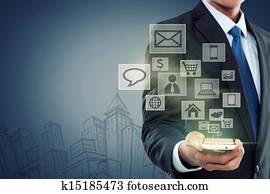 modernes, kommunikation, technologie, handy
