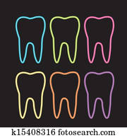 neon, zahn, grafik, für, zahnarzt