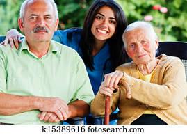 Nurse with Elderly People