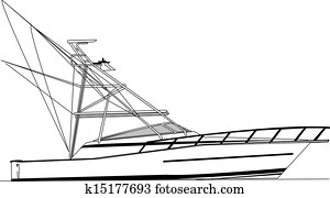 Offshore Fishing Boat Vector