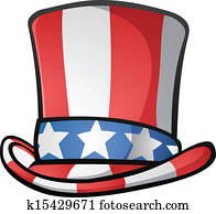 onkel sam, oberster hut, amerikanisch, karikatur