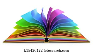 Open book with colorful pages