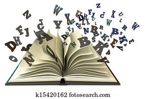 Open book with falling letters