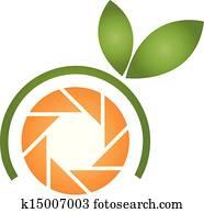 orange, photographie, logo