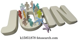 Person help join social or company people