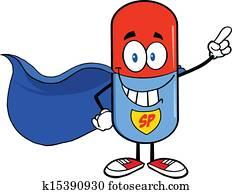 Pill Capsule Super Hero