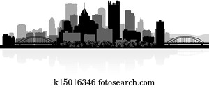 pittsburgh, stadt skyline, silhouette