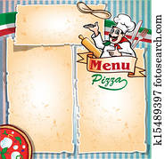 pizza menu with chef