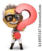 Professor with question mark symbol