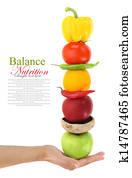 alimentation équilibrée avec fruits et légumes