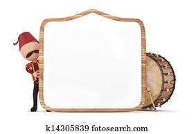 ramadan drummer with wooden frame