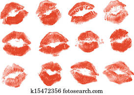 Red lipstick kiss. Isolated