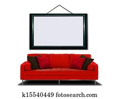 Red Sofa and Picture Frame