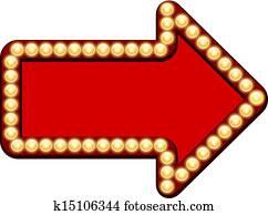 roter pfeil, mit, glühbirnen