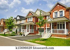 Row of new suburban homes