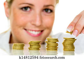 save woman with stack of coins on money